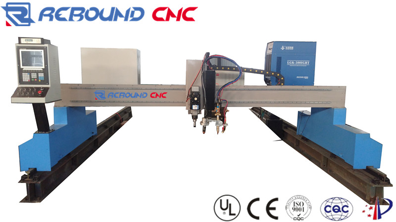 Gantry type CNC cutting machines for thick iron/steel with plasma gas and drilling torch